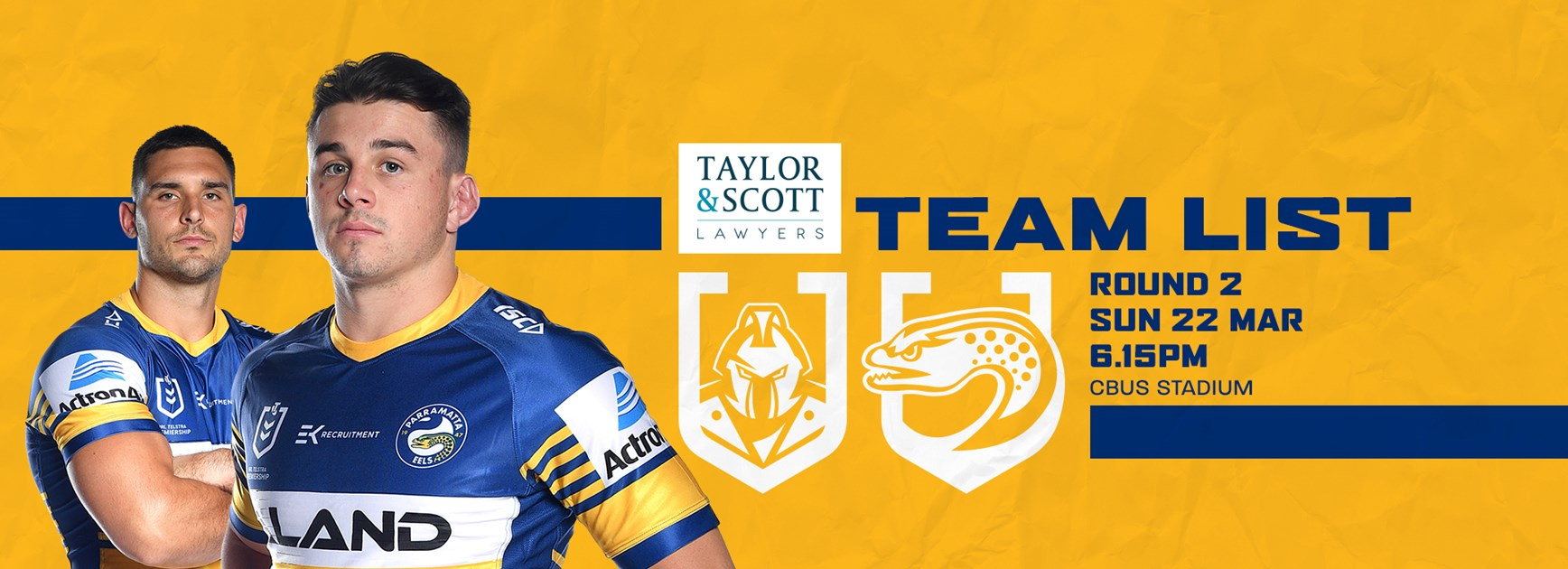 Team List: Titans v Eels, Round Two