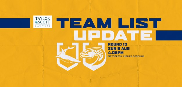 Team List Update: Sharks v Eels, Round 13