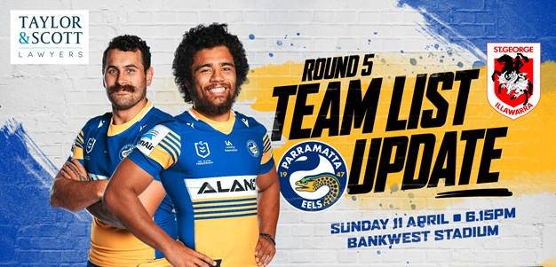 Team List Update - Eels v Dragons, Round Five