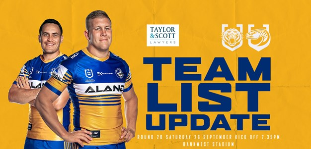 Team List Update: Wests Tigers v Eels