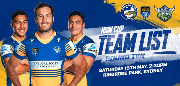 NSW Cup Team List -  Eels v Raiders, Round 10