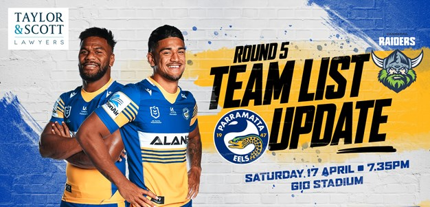 Team List Update - Raiders v Eels, Round Six