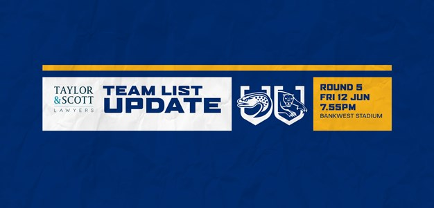 Eels v Panthers, Round Five - Team List Update