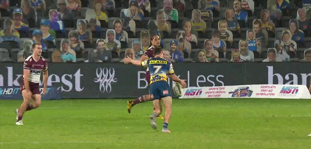 Moses slots a field goal to give the Eels a lead of seven