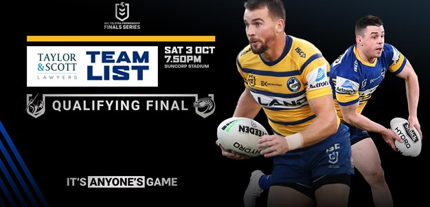 Team List - Storm v Eels, Qualifying Final