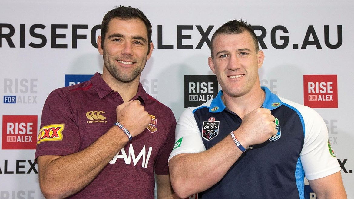 Photo by Charles Knight copyright nrlphotos.com :   -  Cameron Smith and Paul Gallen pictured at the launch of Rise for Alex