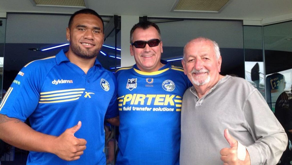 Dyldam Parramatta Eels forward Junior Paulo visits Eels Member Guy Erba (centre) and father at Telstra Connected Lounge on Easter Monday at ANZ Stadium