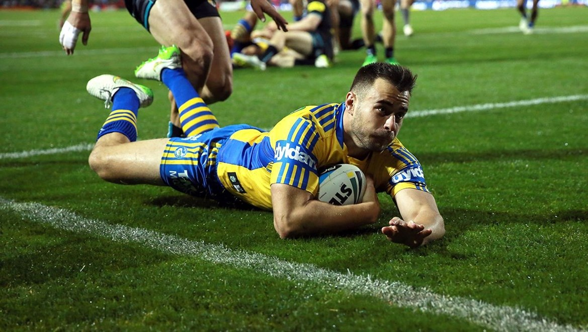 Ryan Morgan scores : Digital Photograph by Robb Cox © NRL Photos : NRL: Rugby League, Penrith Panthers Vs Parramatta Eels at Pepper Stadium, Penrith. Friday 29th May 2015.
