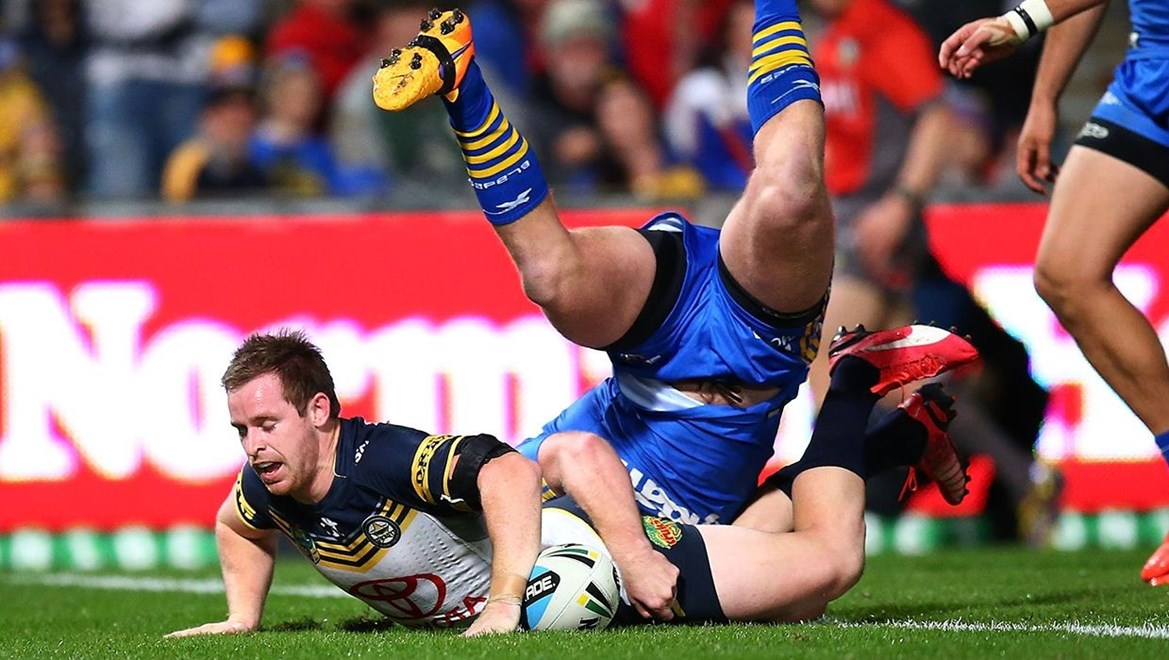Michael Morgan of the Cowboys during the round 13 NRL match between the Parramatta Eels and the North Queensland Cowboys at Pirtek Stadium on June 8, 2015 in Parramatta, Australia. Digital Image by Mark Nolan.