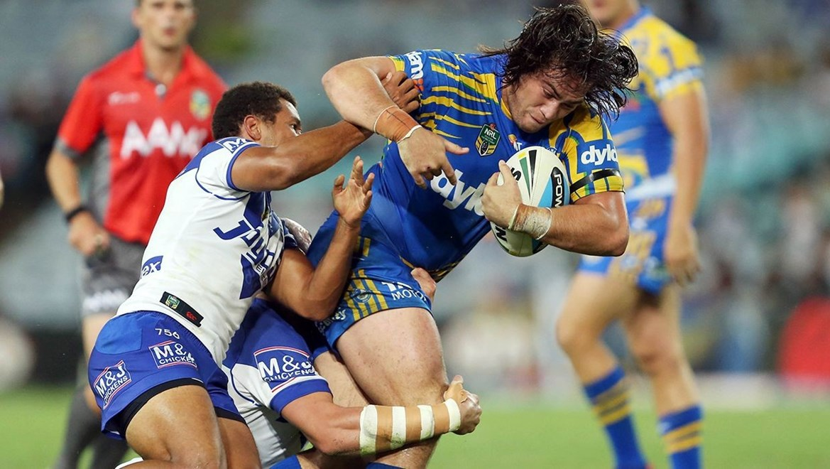 Tepai Moeroa : Digital Image by Robb Cox ©nrlphotos.com:  :NRL Rugby League - Canterbury Bankstown Bulldogs V Parramatta Eels at ANZ Stadium, Homebush. Friday March 13th 2015.