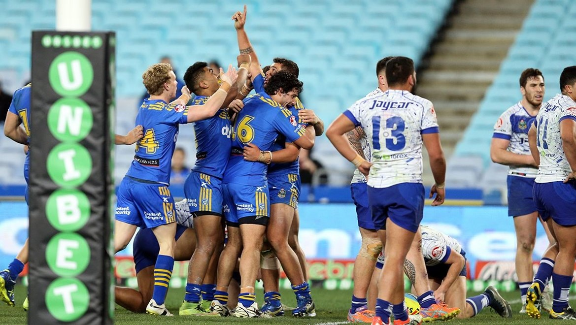 NYC :Digital Image Grant Trouville © NRLphotos  : NRL Rugby League - Round 19 - Parramatta Eels v Bulldogs at ANZ Stadium Homebush, Friday the 17th of July  2015.