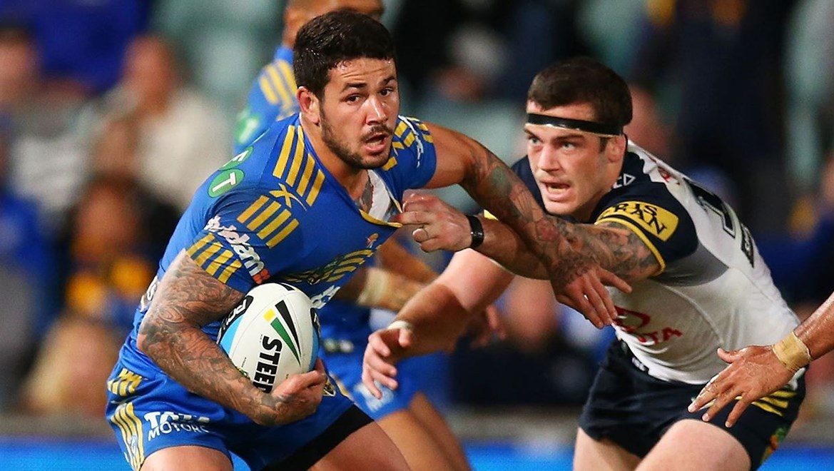 Nathan Peats of the Eels during the round 13 NRL match between the Parramatta Eels and the North Queensland Cowboys at Pirtek Stadium on June 8, 2015 in Parramatta, Australia. Digital Image by Mark Nolan.
