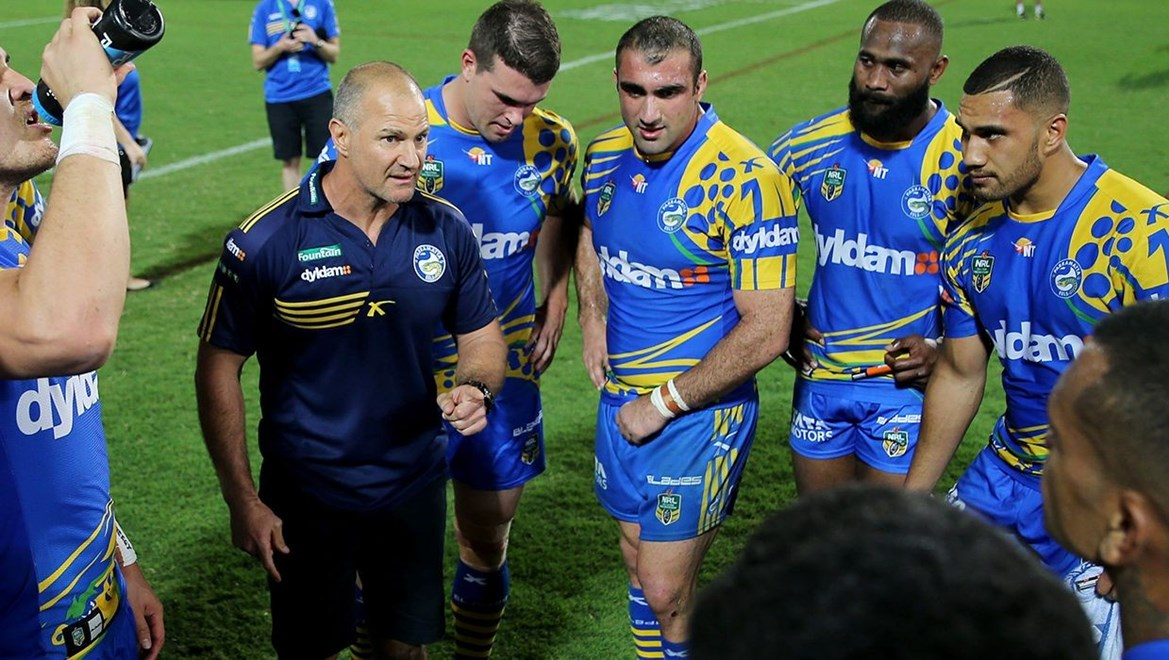 Brad Arthur talks to the Team post match   :Digital Image Grant Trouville © NRLphotos  : NRL Rugby League - Round 22, Indigenous Round - Parramatta Eels v Penrith Panthers at TIO Stadium Darwin Saturday the 8th August 2015.