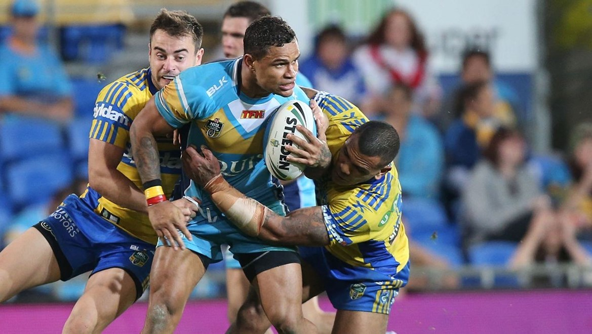 Josh Hoffman  : Digital Image by Charles Knight copyright © NRLphotos. NRL Rugby League, Gold Coast Titans v Parramatta Eels, Cbus Super Stadium, August 3rd, 2015.