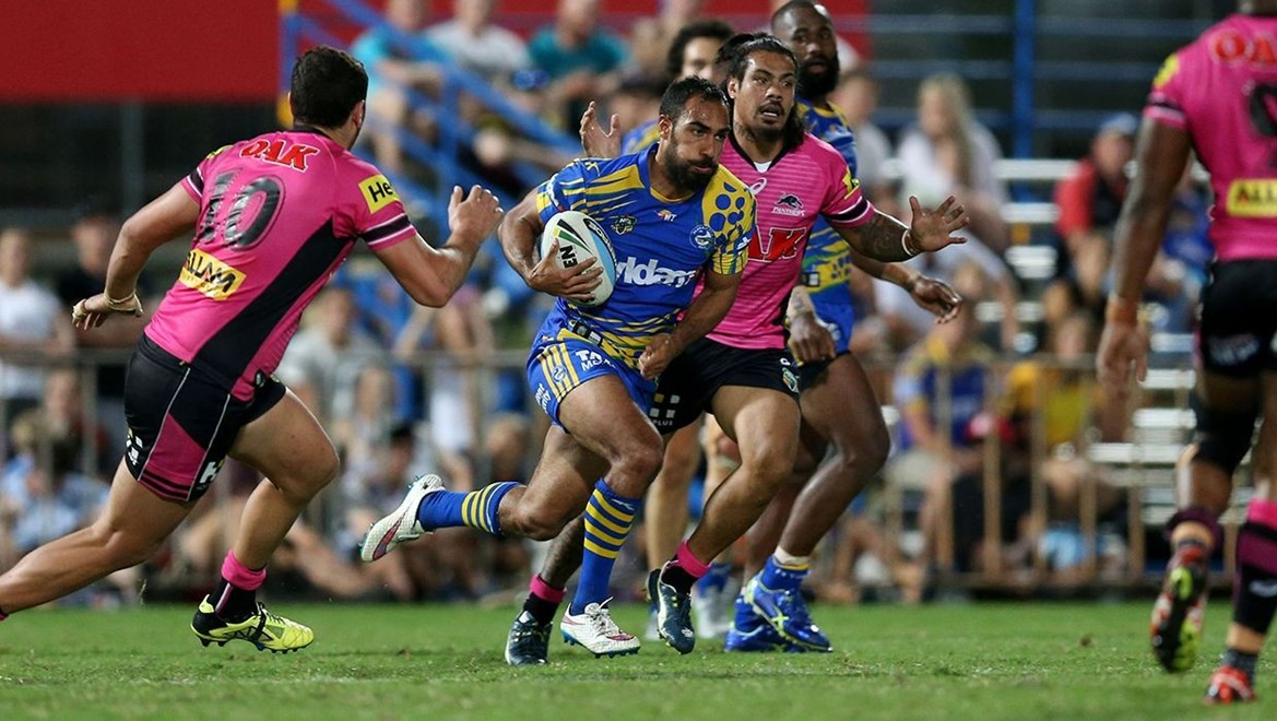 Reece Robinson makes a break and scores the winning Try for the EEls  :Digital Image Grant Trouville © NRLphotos  : NRL Rugby League - Round 22, Indigenous Round - Parramatta Eels v Penrith Panthers at TIO Stadium Darwin Saturday the 8th August 2015.