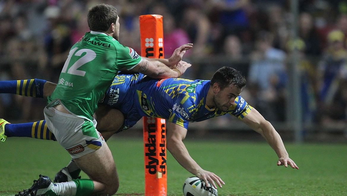 Photo by Colin Whelan copyright © nrlphotos.com :                               NRL Rugby League, Round 22 Parramatta Eels v Canberra Raiders at TIO Stadium, Darwin, Saturday August 9th 2014