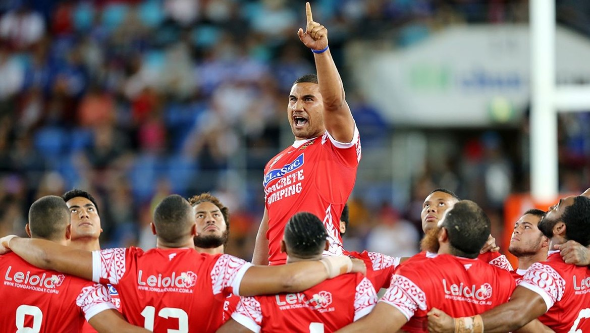 Dyldam Parramatta Eels forward Peni Terepo leads the Tongan Sipi Tau. Photo by Grant Trouville © NRLphotos