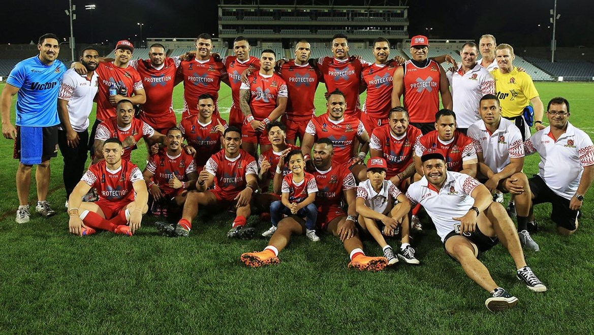 Winning Tongan team : Digital Image by Robb Cox ©nrlphotos.com:  :NRL Rugby League International - Cook Islands V Tonga, at Campbelltown Stadiumn, Saturday October 17th 2015.