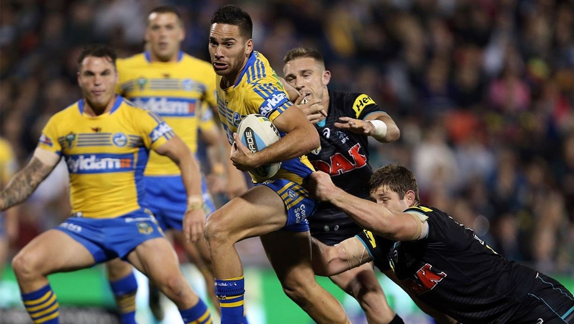 Corey Norman : Digital Photograph by Robb Cox © NRL Photos : NRL: Rugby League, Penrith Panthers Vs Parramatta Eels at Pepper Stadium, Penrith. Friday 29th May 2015.