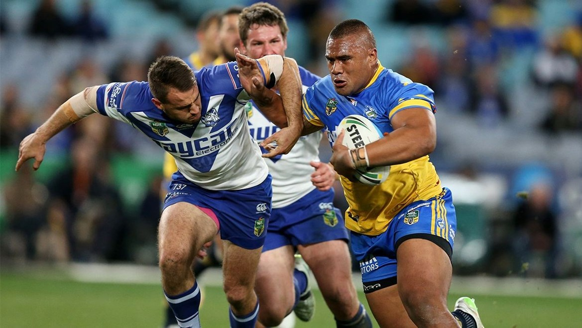 Junior Paulo beats Reynolds  :Digital Image Grant Trouville © NRLphotos  : NRL Rugby League - Round 19 - Parramatta Eels v Bulldogs at ANZ Stadium Homebush, Friday the 17th of July  2015.