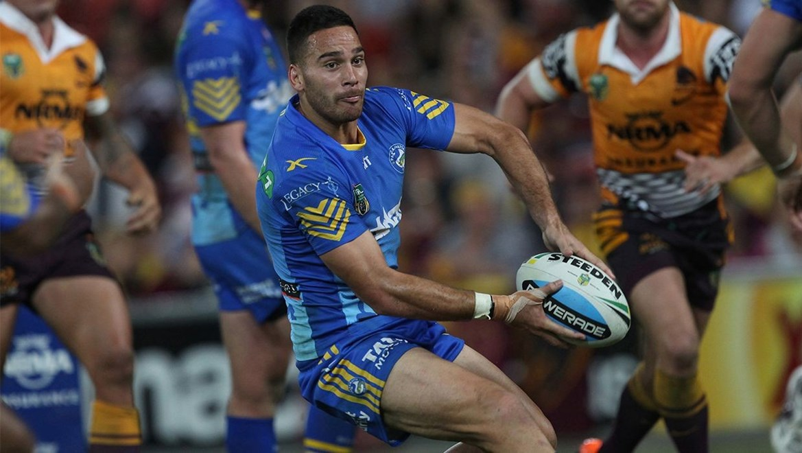 Dyldam Parramatta Eels half Corey Norman in action against the Brisbane Broncos. Photo by nriphotos