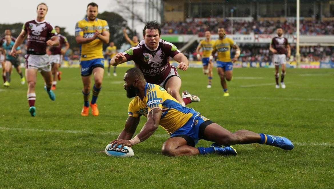 Semi Radradra Scores :Digital Image Grant Trouville © NRLphotos  : NRL Rugby League - Round 24 Manly Sea Eagles v Parramatta Eels at Brookvale Oval Sunday the 23rd of August 2015.