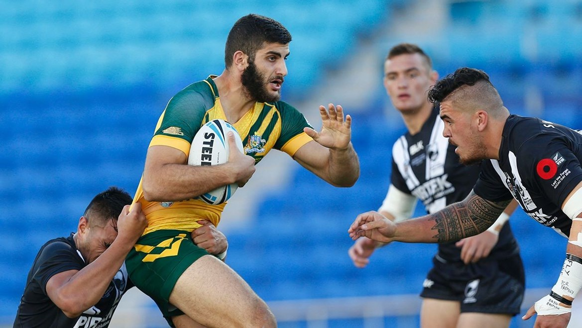 Dyldam Parramatta Eels forward Alex Twal in action for the Australian Junior Kangaroos. Photo by Charles Knight © NRLphotos.