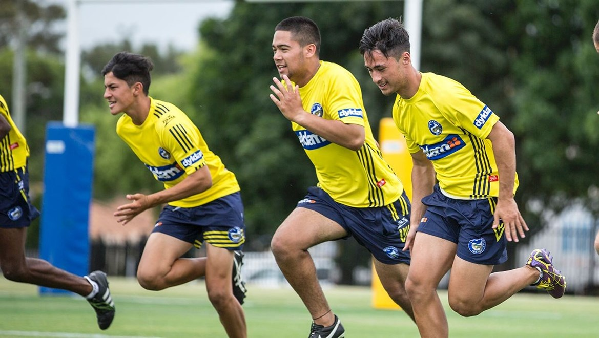 Josh Rawiri (centre) taking part in the Eels Apprentice Camp in December 2015