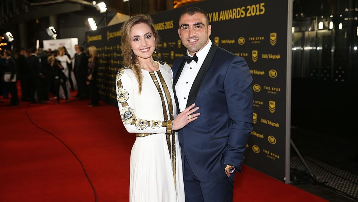 Dyldam Parramatta Eels Tim Mannah and Stephanie Mannah on the red carpet of the 2015 Dally M Awards. Photo by Grant Trouville - NRLphotos
