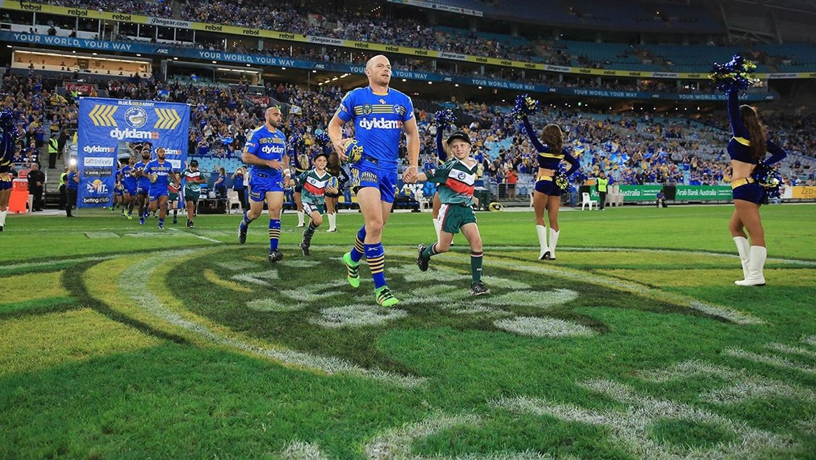 The Parramatta Eels running out onto ANZ Stadium. Photographer - Robb Cox,Competition - NRL Premiership
