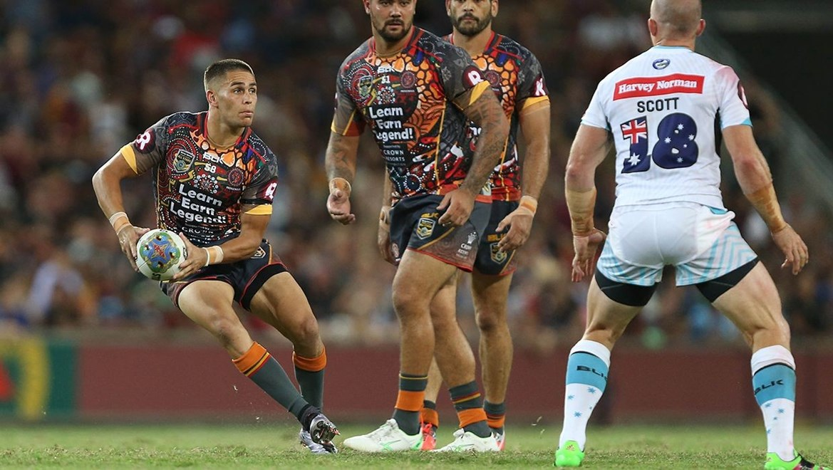 Will Smith in action during the 2016 NRL Indigenous All Stars Vs World All Stars Rugby League match at Suncorp Stadium. Photo by Robb Cox © NRL Photos